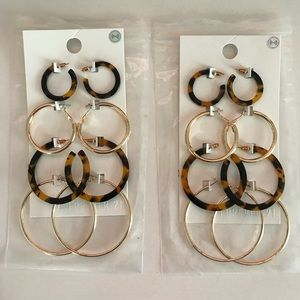 Forever 21 Gold and Tortoise Hoop Earrings
